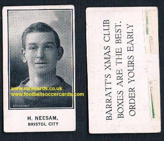 1926 H Neesam Bristol City Barratt's Xmas Boxes card